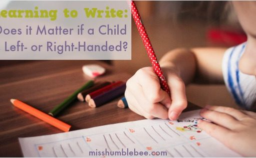 Should you try to make your child use her right hand when she begins learning to write? What if your child doesn't have a dominant hand when entering kindergarten? We're answering your questions and offering a FREE personalized name writing practice sheet.
