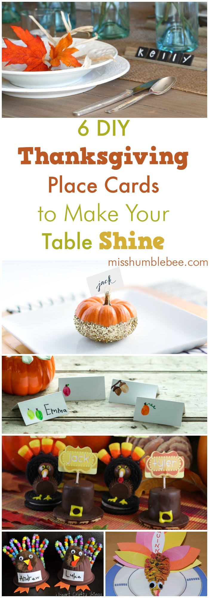 Six Diy Thanksgiving Place Cards To Make Your Table Shine