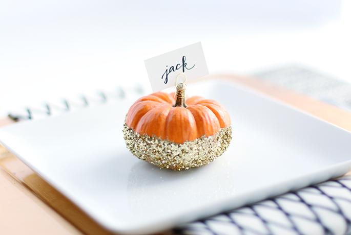 Glitter Pumpkin Place Card Holder
