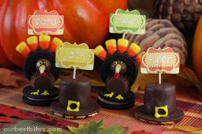 Oreo Turkey and Cookie Pilgrim Hat Place Card Holders