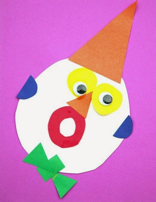 exploring shapes and colors w clown faces cutting tiny bites