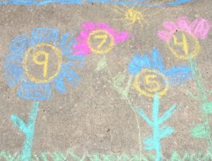 Chalk Flowers Counting Activity