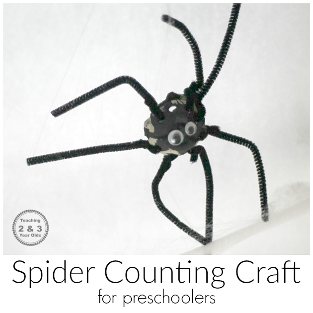 Spider-Counting-Craft-for-Preschoolers teaching 2 and 3 year olds