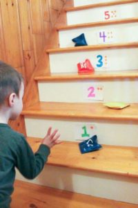 Bean Bag Toss on the Stairs to Learn Numbers