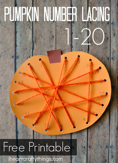 Help your child improve fine motor skills and number recognition with this fun pumpkin lacing activity.