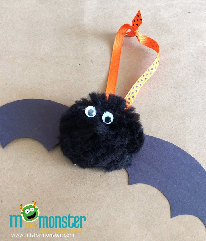 Black-Pom-Pom-Bat-Craft m is for monster