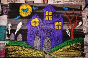 Halloween Wax Resist Art